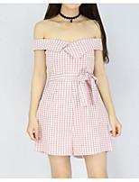 Недорогие -Жен. Повседневные Черный Розовый Винный Комбинезоны, Однотонный S M L С короткими рукавами