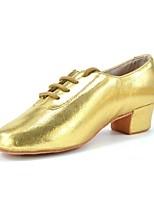 Недорогие -Муж. Обувь для латины Искусственная кожа На каблуках Толстая каблук Персонализируемая Танцевальная обувь Золотой / Серебряный / Красный