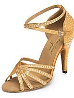 Недорогие -Жен. Обувь для латины Сатин На каблуках Стразы Тонкий высокий каблук Персонализируемая Танцевальная обувь Миндальный