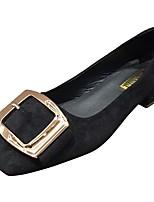 Недорогие -Жен. Полиуретан Весна Обувь на каблуках На плоской подошве Квадратный носок Черный / Розовый / Вино