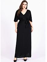Недорогие -женское плюс размер повседневного макси свободного шифона платье с v-образным вырезом хлопок черный xl xxl xxxl xxxxl
