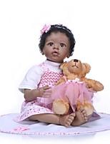 Недорогие -NPKCOLLECTION Куклы реборн Кукла для девочек Девочки Африканская кукла 24 дюймовый Очаровательный Новый дизайн Искусственная имплантация Коричневые глаза Детские Девочки Игрушки Подарок