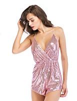 Недорогие -Жен. Повседневные Розовый Комбинезоны, Однотонный M L XL Без рукавов
