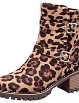 Недорогие -Жен. Замша Наступила зима Классика / На каждый день Ботинки Блочная пятка Круглый носок Сапоги до середины икры Пряжки Коричневый / Цвет-леопард / Вино / Леопард