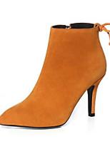 Недорогие -Жен. Замша / Кожа Осень Ботинки На шпильке Ботинки Черный / Желтый