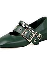 Недорогие -Жен. Наппа Leather Лето Милая / Минимализм Обувь на каблуках На низком каблуке Квадратный носок Пряжки Черный / Зеленый / Миндальный