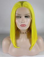 Недорогие -Синтетические кружевные передние парики Кудрявый Золотистый Средняя часть Желтый 180% Человека Плотность волос Искусственные волосы 12-16 дюймовый Жен. Регулируется / Кружева / Жаропрочная Золотистый