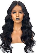 Недорогие -человеческие волосы Remy Лента спереди Парик Бразильские волосы Естественные кудри Парик Ассиметричная стрижка 130% Плотность волос с детскими волосами Натуральный Удобный 100% девственница