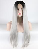 Недорогие -Синтетические кружевные передние парики Прямой Омбре Средняя часть Цвет Ombre 180% Человека Плотность волос Искусственные волосы 18-26 дюймовый Жен. Регулируется / Жаропрочная / Эластичный Омбре Парик