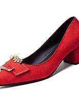 Недорогие -Жен. Полиуретан Весна Обувь на каблуках На толстом каблуке Заостренный носок Черный / Серый / Красный