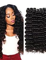 Недорогие -4 Связки Перуанские волосы Крупные кудри Не подвергавшиеся окрашиванию Необработанные натуральные волосы Человека ткет Волосы Уход за волосами Удлинитель 8-28 дюймовый Естественный цвет