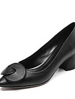 Недорогие -Жен. Наппа Leather Весна Обувь на каблуках На толстом каблуке Заостренный носок Черный / Серый