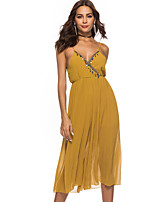 Недорогие -Жен. Повседневные Классический Черный Желтый Комбинезоны, Однотонный M L XL Без рукавов