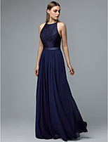 cheap -A-Line Jewel Neck Floor Length Chiffon / Lace Formal Evening Dress with Sash / Ribbon by TS Couture®