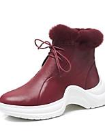 Недорогие -Жен. Наппа Leather Осень Ботинки На плоской подошве Черный / Темно-коричневый