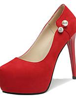 Недорогие -Жен. Полиуретан Весна Обувь на каблуках На шпильке Круглый носок Черный / Красный / Для вечеринки / ужина
