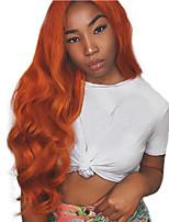 Недорогие -Синтетические кружевные передние парики Естественные кудри Коричневый Средняя часть Оранжевый / белый / синий Искусственные волосы 24 дюймовый Жен. Регулируется / Для вечеринок / Женский Коричневый
