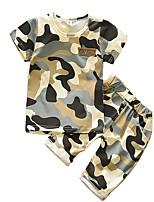 Недорогие -малыш Мальчики Классический Повседневные С принтом С короткими рукавами Обычный Обычная Хлопок Набор одежды Военно-зеленный