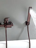 Недорогие -Смеситель для ванны / Смеситель для ванной - Античный Начищенная бронза На стену Керамический клапан Bath Shower Mixer Taps