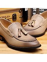 Недорогие -Муж. Комфортная обувь Кожа Лето Туфли на шнуровке Черный / Кофейный / Светло-желтый
