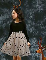 Недорогие -Дети Девочки Классический Однотонный / Контрастных цветов Длинный рукав Платье Черный