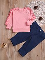 Недорогие -малыш Девочки Активный Повседневные Однотонный Оборки Длинный рукав Обычный Хлопок Набор одежды Розовый