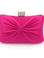 Недорогие -Жен. Мешки Полиэстер / Сплав Вечерняя сумочка Бант(ы) / Кристаллы Сплошной цвет Черный / Пурпурный