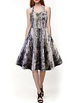 Недорогие -Жен. Элегантный стиль Тонкие С летящей юбкой Платье Завышенная Хальтер До колена