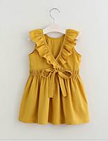 Недорогие -Дети (1-4 лет) Девочки Милая / Симпатичные Стиль Однотонный Без рукавов Платье Оранжевый