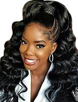 Недорогие -человеческие волосы Remy Необработанные натуральные волосы 360 Лобовой Лента спереди Парик Глубокое разделение стиль Бразильские волосы Волнистый Свободные волны Парик 150% Плотность волос 10-22