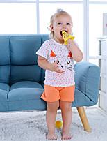 Недорогие -малыш Мальчики Классический Повседневные Синий и белый Жаккард С короткими рукавами Короткий Короткая Хлопок Набор одежды Розовый