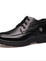 Недорогие -Муж. Кожаные ботинки Кожа Весна Мокасины и Свитер Для прогулок Ботинки Черный / Коричневый