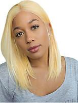 Недорогие -Не подвергавшиеся окрашиванию Лента спереди Парик Стрижка боб EMMA стиль Бразильские волосы Прямой Блондинка Парик 150% Плотность волос с детскими волосами Жаропрочная Cool Необработанные с клипом