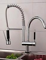 Недорогие -кухонный смеситель - Две ручки одно отверстие Электропокрытие Выдвижная / Выпадающий Обычные Kitchen Taps