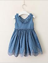 Недорогие -Дети (1-4 лет) Девочки Милая / Симпатичные Стиль Однотонный Без рукавов Платье Синий