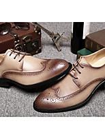Недорогие -Муж. Комфортная обувь Кожа Лето Туфли на шнуровке Черный / Кофейный