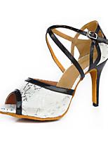 Недорогие -Жен. Обувь для латины Сатин На каблуках Кубинский каблук Персонализируемая Танцевальная обувь Белый