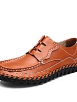 Недорогие -Муж. Комфортная обувь Кожа Весна Мокасины и Свитер Черный / Желтый / Коричневый