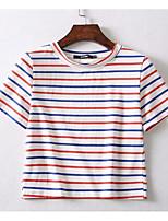 Недорогие -женская стройная футболка азиатского размера - полосатый шею