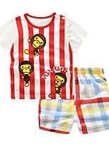 Недорогие -малыш Мальчики Классический Повседневные С принтом С короткими рукавами Обычный Обычная Хлопок Набор одежды Красный