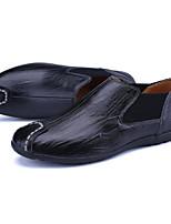 Недорогие -Муж. Комфортная обувь Кожа Осень Мокасины и Свитер Черный / Темно-русый / Темно-коричневый