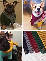 Недорогие -Собаки Коты Шарф для собаки Одежда для собак Простой В полоску Зеленый Розовый Красный + черный Акриловые волокна Костюм Назначение Осень Зима Универсальные Наколенники