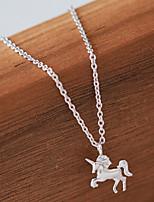 Недорогие -Unicorn Жен. лакомство Молодежный стиль Сладкое детство Прицесса Unicorn Ожерелья с подвесками Ключницы Назначение Для вечеринок На каждый день Подарок 1 ожерелье Бижутерия / Серебристый