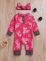Недорогие -малыш Девочки Классический Цветочный принт Длинный рукав Хлопок 1 предмет Красный