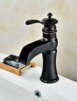 Недорогие -Ванная раковина кран - Широко распространенный Окрашенные отделки Другое Одной ручкой одно отверстиеBath Taps