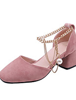 Недорогие -Жен. Синтетика Весна лето Обувь на каблуках На толстом каблуке Квадратный носок Искусственный жемчуг Черный / Бежевый / Розовый
