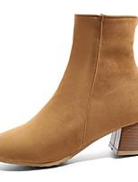 Недорогие -Жен. Замша Наступила зима Ботинки На толстом каблуке Круглый носок Сапоги до середины икры Черный / Светло-серый / Верблюжий