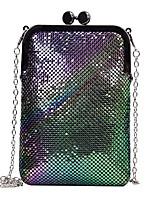 Недорогие -Жен. Мешки PU Мобильный телефон сумка Молнии Геометрический рисунок Черный / Серебряный / Цвет радуги
