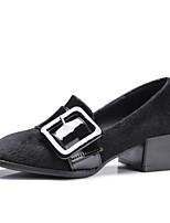 Недорогие -Жен. Микроволокно Весна На каждый день / Минимализм Обувь на каблуках На низком каблуке Квадратный носок Пряжки Черный / Серый / Красный