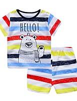 Недорогие -малыш Мальчики Классический Повседневные Синий и белый Жаккард С короткими рукавами Короткий Короткая Хлопок Набор одежды Красный